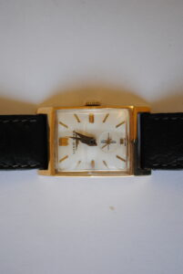 Longines rectangular 14k wrist watch clock face