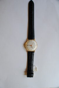 Onsa 14ct gold manual wrist watch with black leather strap full