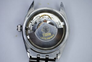 "Tudor Prince Oysterdate ""Big Rose"" Rotor self-winding stainless steel wristwatch back"