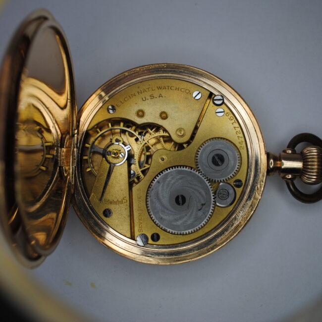 Elgin gold plated full hunter pocket watch back interior