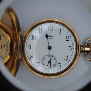 Waltham gold plated full hunter pocket watch open