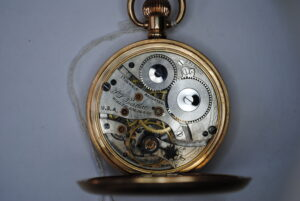 Waltham gold plated full hunter pocket watch interior