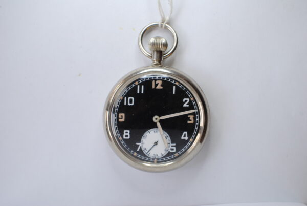 Military stainless steel open faced pocket watch