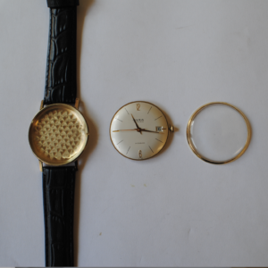 Onsa 14ct gold manual wrist watch with black leather strap parts