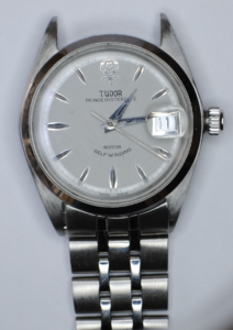 "Tudor Prince Oysterdate ""Big Rose"" Rotor self-winding stainless steel wristwatch front"