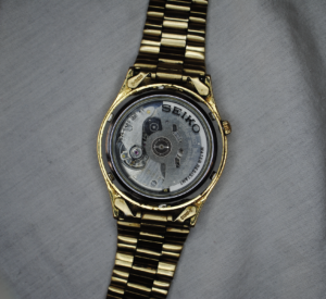 Seiko 5 day-date automatic wrist watch back