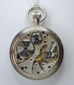 Military stainless steel open faced pocket watch back
