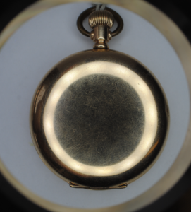 Elgin gold plated full hunter pocket watch back