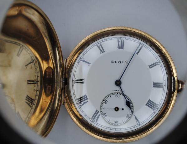 Elgin gold plated full hunter pocket watch open